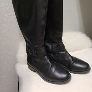 me Too Black Leather 7M Knee High Low Heel Boots